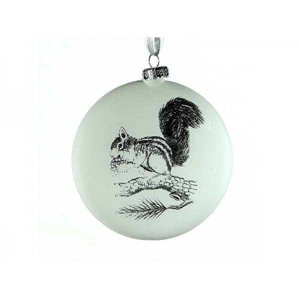 Χριστουγεννιάτικη Μπάλα Πλακέ Λευκή Σκίουρος